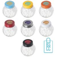 glazen snoeppot bedrukken, snoeppot bedrukt, snoeppot met logo