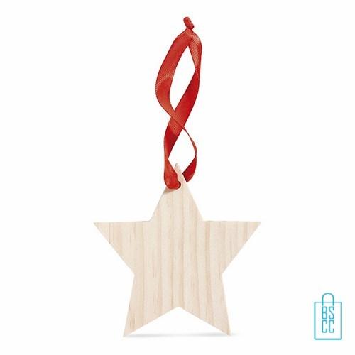 Houten stervormige kerstboomhanger bedrukken, kerstboomhanger bedrukt, bedrukte kerstboomhanger met logo, goedkope kerstgeschenken bedrukken