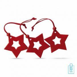 Stervormige kerstboomhangers bedrukken, kerstboomhanger bedrukken, bedrukte kerstboomhanger met logo, goedkope kerstgeschenken bedrukken