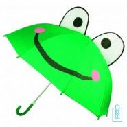 Kinderparaplu bedrukken kikker , kinderparaplu bedrukken, kinderparaplu met logo, kinderparaplu met naam, kinderparaplu goedkoop