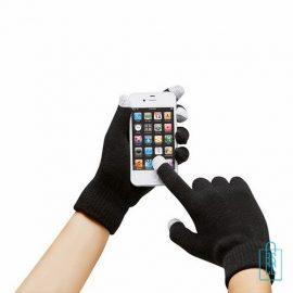 Smartphone handschoenen bedrukken zwart, telefoon accessoires bedrukken, telefoon gadgets bedrukken, goedkope relatiegeschenken bedrukken