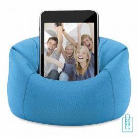 Telefoonstandaard mini zitzak bedrukken goedkoop blauw, telefoon accessoires bedrukken, telefoon gadgets bedrukken, goedkope relatiegeschenken bedrukken