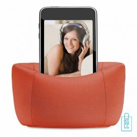 Telefoonstandaard mini zitzak bedrukken goedkoop oranje, telefoon accessoires bedrukken, telefoon gadgets bedrukken, goedkope relatiegeschenken bedrukken