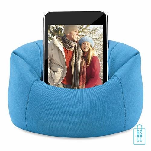 Telefoonstandaard mini zitzak bedrukken met logo blauw, telefoon accessoires bedrukken, telefoon gadgets bedrukken, goedkope relatiegeschenken bedrukken