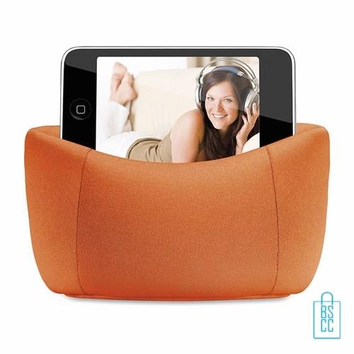 Telefoonstandaard mini zitzak bedrukken oranje artikel, telefoon accessoires bedrukken, telefoon gadgets bedrukken, goedkope relatiegeschenken bedrukken