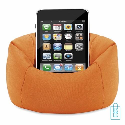 Telefoonstandaard mini zitzak bedrukken voor op bureau, telefoon accessoires bedrukken, telefoon gadgets bedrukken, goedkope relatiegeschenken bedrukken