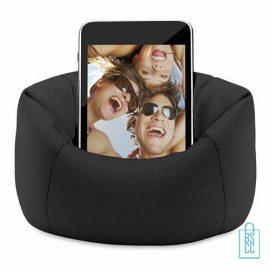 Telefoonstandaard mini zitzak bedrukken zwart, telefoon accessoires bedrukken, telefoon gadgets bedrukken, goedkope relatiegeschenken bedrukken