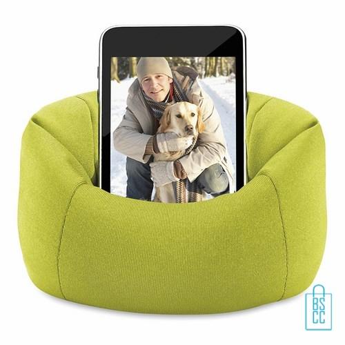Telefoonstandaard mini zitzak bedrukt, telefoon accessoires bedrukken, telefoon gadgets bedrukken, goedkope relatiegeschenken bedrukken