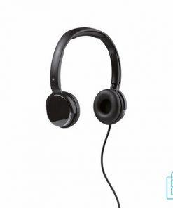 Verstelbare hoofdtelefoon met logo zwart, hoofdtelefoon bedrukken, koptelefoon bedrukken, koptelefoon met logo