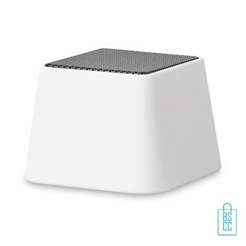 Vierkante bluetooth speaker bedrukt wit, telefoon speaker bedrukken, bluetooth speaker bedrukken, goedkope telefoonspeaker, wireless speaker bedrukken