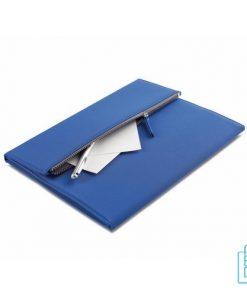 Schrijfmap A4 microfiber bedrukken, A4 schrijfmappen bedrukt, schrijfmap met rits, schrijfmappen met logo, blauwe schrijfmap