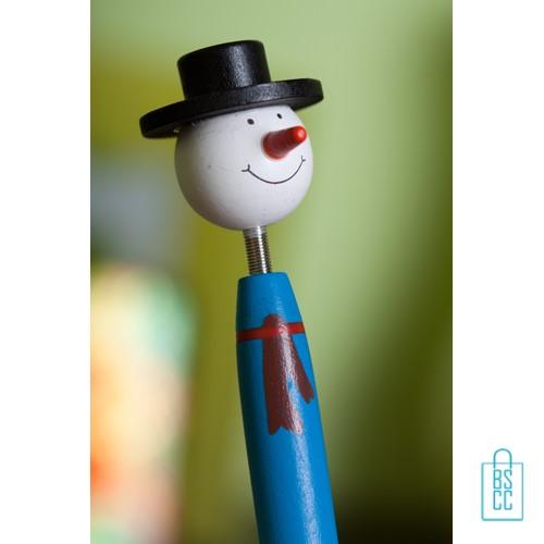 Houten pen Sneeuwpop bedrukken, kerst pen bedrukken, bedrukte kerstboompen, sneeuwpop pen bedrukken, kerstman pen bedrukken