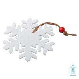 Kerstboomversiering sneeuwvlok bedrukken, kerstboomversiering bedrukt, bedrukte kerstboomversiering met logo, kerstboom ornamenten bedrukken