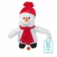 Knuffel Sneeuwpop bedrukken, knuffel bedrukt, bedrukte knuffel met logo