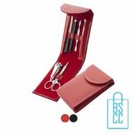 Manicureset leren etui bedrukken, manicure accessoires bedrukt, pedicure set met logo, maniure set bedrukt