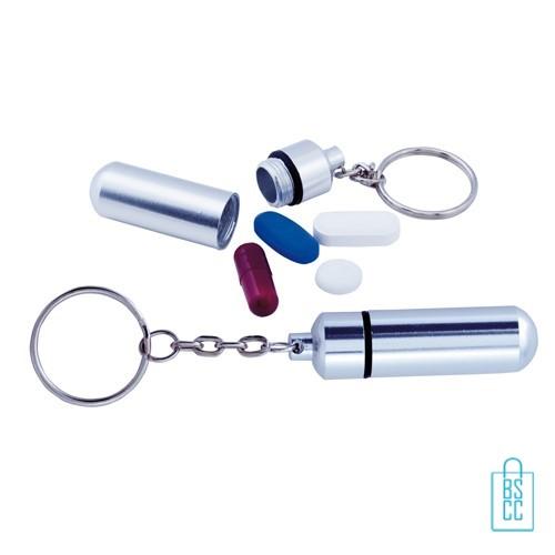 Pillendoosje hanger bedrukken zilver, pillendoosje bedrukt, pillendoosje met logo