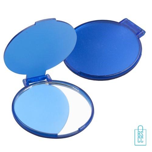 Spiegel plastic bedrukken, Spiegeltje bedrukken, zakspiegeltje bedrukken met tekst, spiegel bedrukt met logo