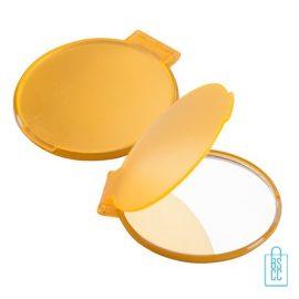Spiegel plastic bedrukken , Spiegeltje bedrukken, zakspiegeltje bedrukken met tekst, spiegel bedrukt met logo