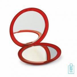 Spiegeltje rond bedrukken rood,Spiegel bedrukken, spiegel bedrukt, spiegel met logo