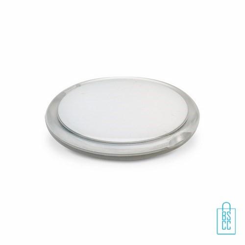 Spiegeltje rond bedrukken wit, Spiegel bedrukken, spiegel bedrukt, spiegel met logo