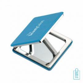 Spiegeltje vierkant luxe bedrukken PU leer, Spiegel bedrukken, spiegel bedrukt, spiegel met logo