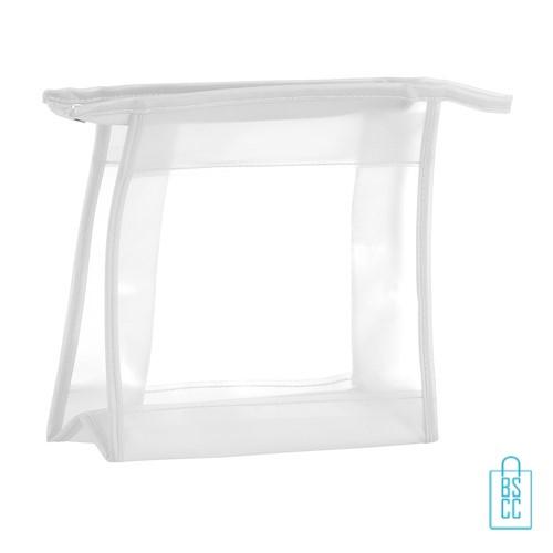 Toilettas PVC transparant bedrukken, toilettasje met logo, make-up tasje, transparant toilettasje, klein tasje bedrukken
