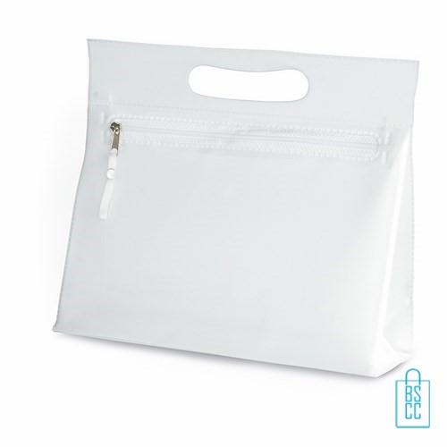 Toilettasje transparant bedrukken, toilettasje met logo, make-up tasje, transparant toilettasje, klein tasje bedrukken