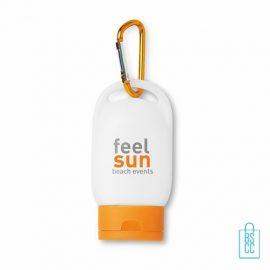 Zonnebrandcreme SPF 30 bedrukken, Zonnebrand bedrukken, zonnebrandcreme bedrukt, creme, spray, verzorgingsartikelen bedrukken