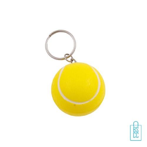 Sleutelhanger anti stress tennisbal bedrukken, sleutelhanger anti stressbal bedrukken, sleutelhanger stressballen bedrukt, stressballen met logo