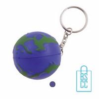 Sleutelhanger anti stress wereldbol bedrukken