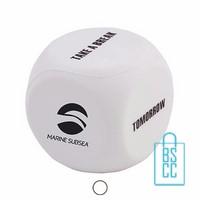 stressballen dobbelsteen bedrukken, stressballen bedrukt, stressballen met logo