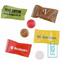 flowpack snoep bedrukken, snoepjes in folie, goedkoop snoepjes bedrukken