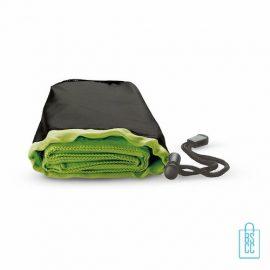 Fitness handdoek bedrukken zwart groen, sporthanddoek bedrukt, sporthanddoek met logo