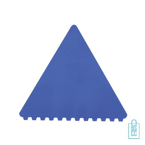 IJskrabber goedkoop bedrukken, ijskrabber driehoek, ijskrabbers goedkoop bestellen, ijskrabber blauw