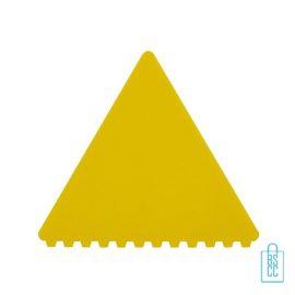 IJskrabber goedkoop bedrukken, ijskrabber driehoek, ijskrabbers goedkoop bestellen, ijskrabber geel