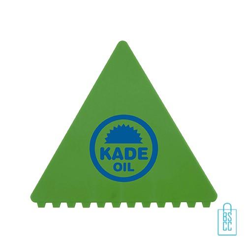 IJskrabber goedkoop bedrukken, ijskrabber driehoek, ijskrabbers goedkoop bestellen, ijskrabber groen