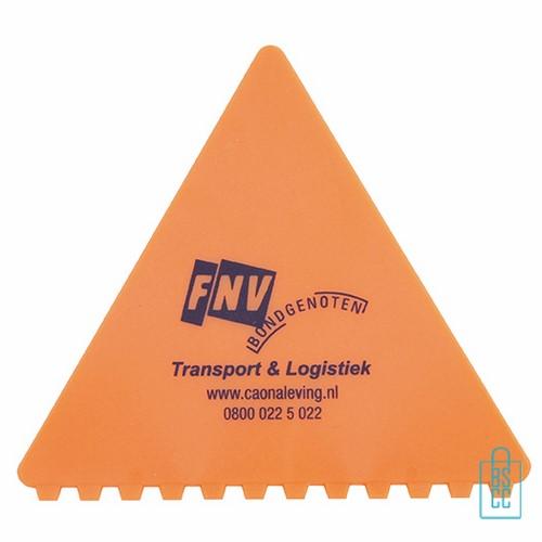 IJskrabber goedkoop bedrukken, ijskrabber driehoek, ijskrabbers goedkoop bestellen, ijskrabber oranje