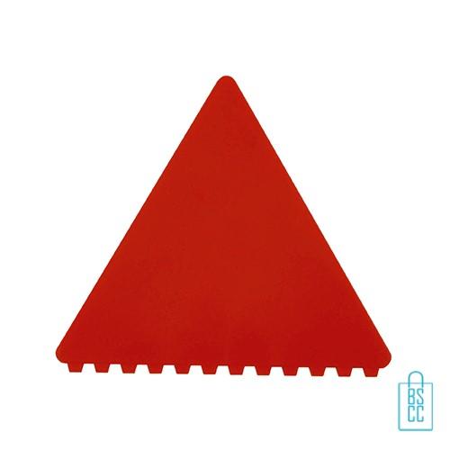 IJskrabber goedkoop bedrukken, ijskrabber driehoek, ijskrabbers goedkoop bestellen, ijskrabber rood