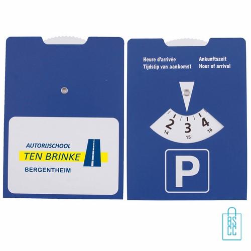Parkeerschijf karton bedrukken, parkeerkaart bestellen, parkeerschijf goedkoop