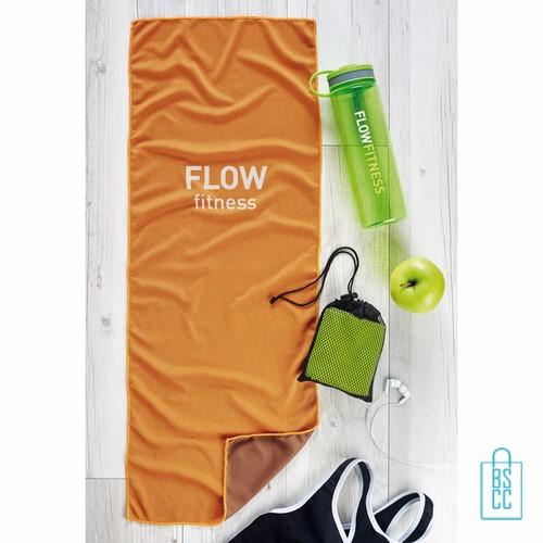 Sporthanddoek goedkoop bedrukken oranje, sporthanddoek bedrukt, sporthanddoek met logo