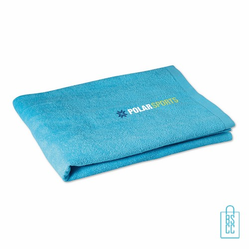 Sporthanddoek groot bedrukken aqua, sporthanddoek bedrukt, sporthanddoek met logo