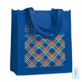 Non woven tasje goedkoop bedrukken, tasje bedrukt, bedrukte tasje, blauw