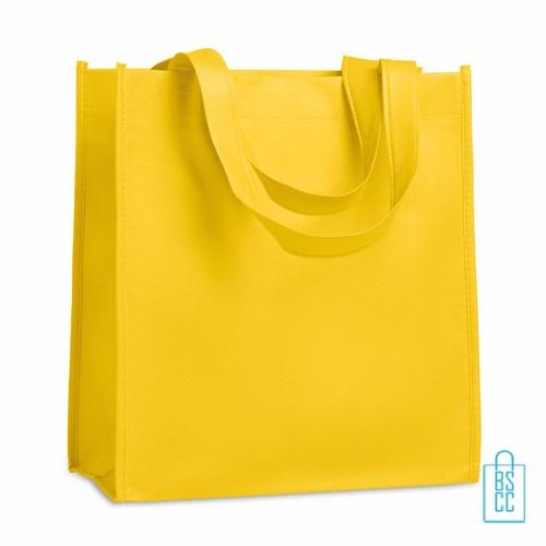Non woven tasje goedkoop bedrukken, tasje bedrukt, bedrukte tasje, geel