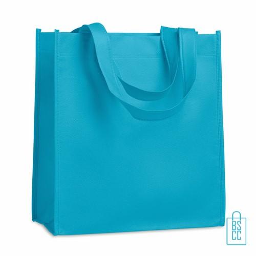 Non woven tasje goedkoop bedrukken, tasje bedrukt, bedrukte tasje, lichtblauw