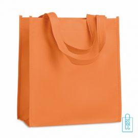 Non woven tasje goedkoop bedrukken, tasje bedrukt, bedrukte tasje, oranje