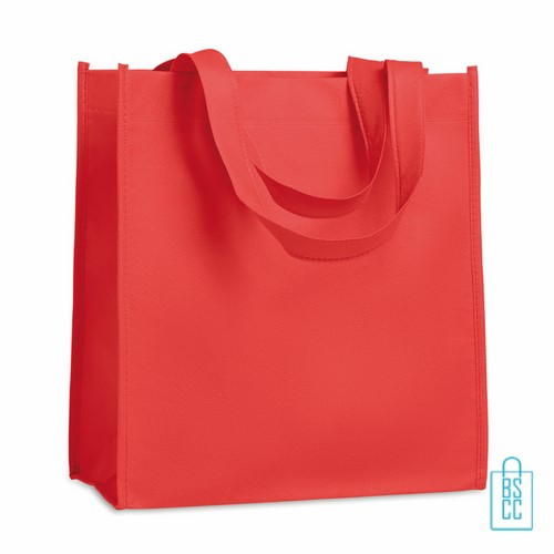 Non woven tasje goedkoop bedrukken, tasje bedrukt, bedrukte tasje, rood