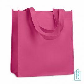 Non woven tasje goedkoop bedrukken, tasje bedrukt, bedrukte tasje, roze