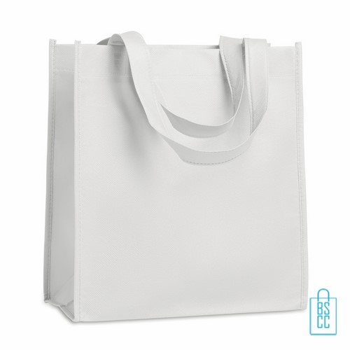 Non woven tasje goedkoop bedrukken, tasje bedrukt, bedrukte tasje, wit