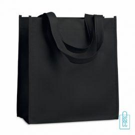 Non woven tasje goedkoop bedrukken, tasje bedrukt, bedrukte tasje, zwart