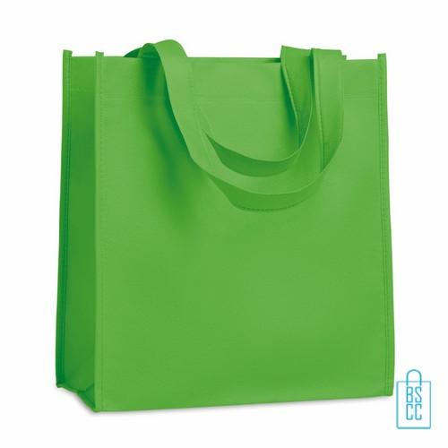 Non woven tasje goedkoop bedrukken, tasje bedrukt, bedrukte tasje, groen